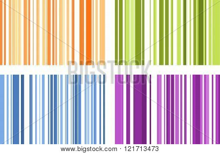 Set Of Four Seamless Bright Full Color Stripe Patterns. Vector Illustration For Your Design.