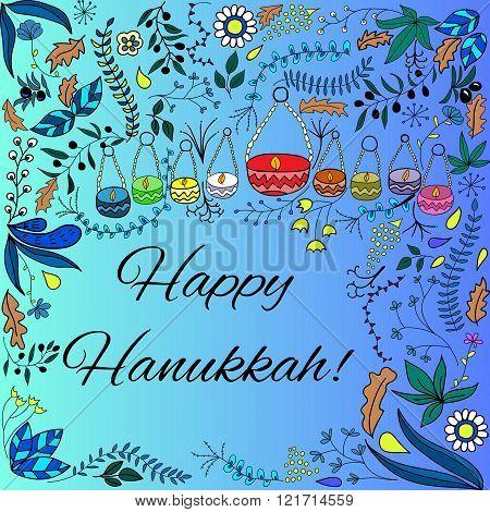 Cute hand drawn frame with hanukkah greetings. Doodle style menorah