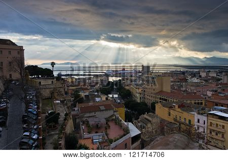 Aerial view of Cagliari cityscape and harbor, Sardinia