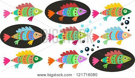 Set Of Colorful Fish. Decorative Illustration Of Underwater Life.