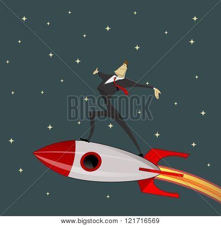 Businessman On Rocket.