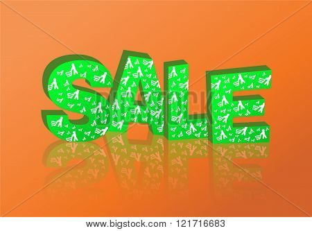 3D green text sale.