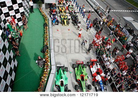 Sepang, MALAYSIA - 23 November: Winners podium, winning cars and supporters at the World A1 GP races. 23 November 2008 in Sepang International Circuit Malaysia.