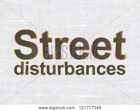 Political concept: Street Disturbances on fabric texture background