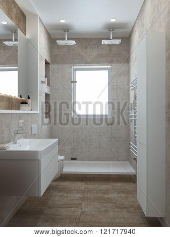 Bathroom modern style, 3D render