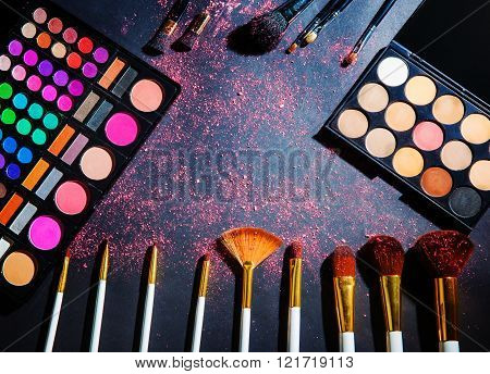 Makeup Palette With Makeup Brush.