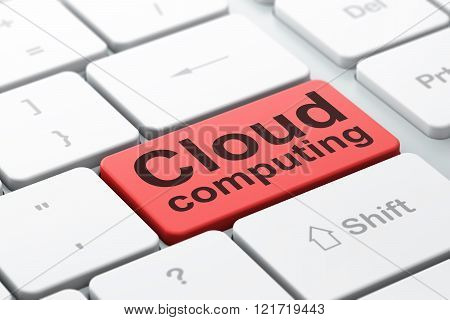 Cloud technology concept: Cloud Computing on computer keyboard background