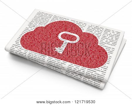 Cloud technology concept: Cloud With Key on Newspaper background