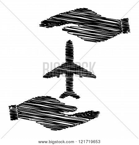 Airplane sign with scribble effect
