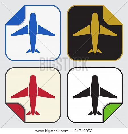 set of four colored variable square sticky icons with bent corner - airplane