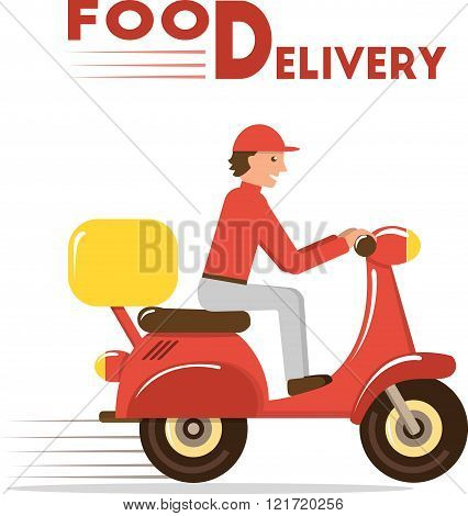Food delivery concept. Minimal flat vector illustration of courier on scooter or motorbike
