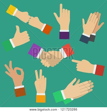 Different human hands. Minimal flat vector illustration of various positions of hands. Hands showing