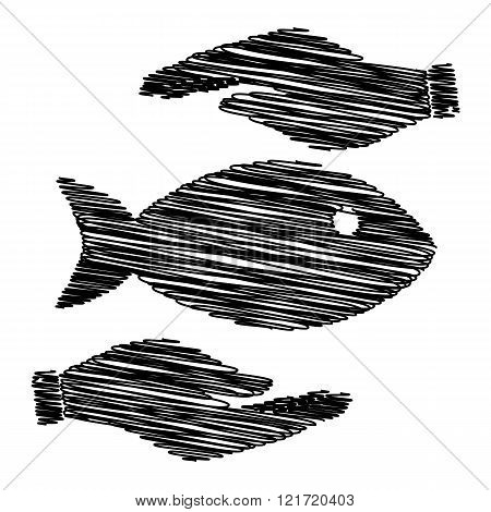 Fish sign with scribble effect