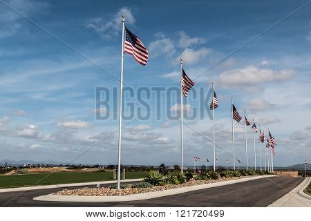 The Avenue of Flags at Miramar National Cemetery