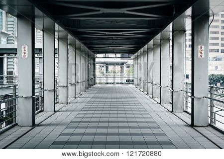 Elevated Pedestrian Walkway, In The Xinyi District, Taipei, Taiwan.