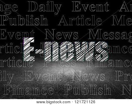 News concept: E-news in grunge dark room