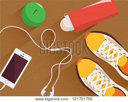 Set of vector fitness equipment. Minimal flat illustration. Sneakers, bottle of water, headphones an