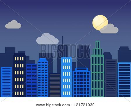 Minimal flat design modern vector illustration. Set of urban landscape, buildings and city life. Sky