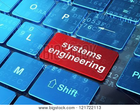 Science concept: Systems Engineering on computer keyboard background