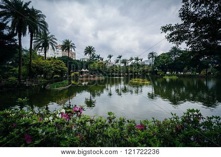 Flowers And Lake At Zhongshan Park, In The Xinyi District, Taipei, Taiwan.