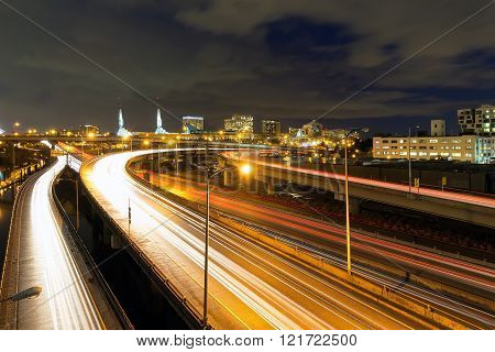 Interstate Freeway Light Trails and Northeast Portland Skyline at Night
