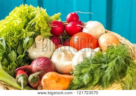 Photo Of  Basket With Vegetables