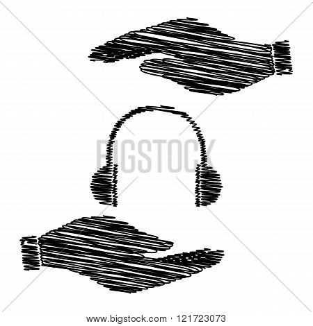 Headphones sign with scribble effect