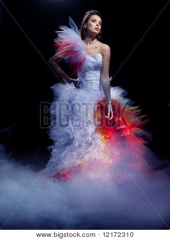 Young woman wearing wedding dress