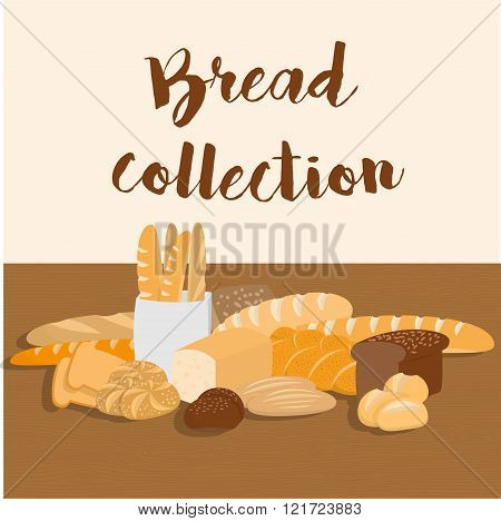 Different kinds of bread set for menu. Collection of pastry items on wooden table for print or web.