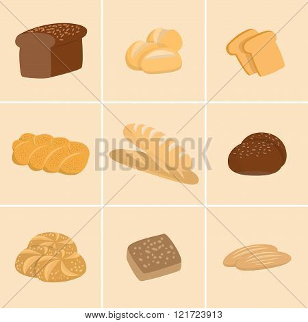 Different kinds of bread set. Collection of isolated pastry items top view for print or web. Bakery