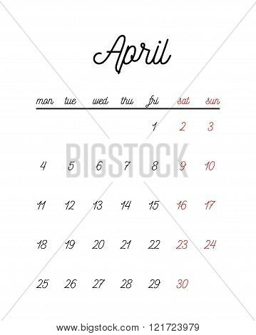 Minimal cute calendar template. Vector illustration for print or web.