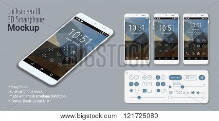 Lockscreen mobile UI smartphone mockup