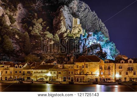Night cityscape of town of Omis, Croatia.