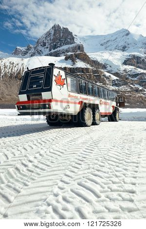 BANFF NATIONAL PARK, CANADA - SEPTEMBER 4: Columbia Icefield with Snow Coach on September 4, 2015 in Banff National Park, Canada. It is the largest ice field in the Rocky Mountains of North America.