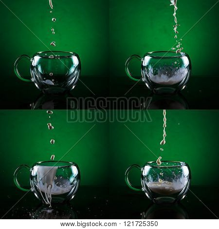 Set of four glass cups against green background. Filling glass cups with milk sequence.