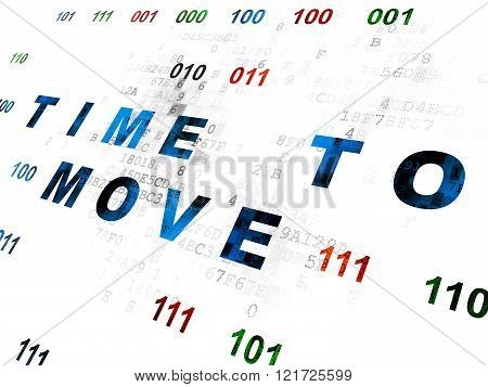 Time concept: Time to Move on Digital background