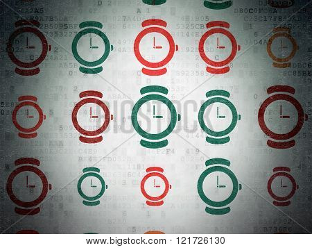 Timeline concept: Hand Watch icons on Digital Paper background