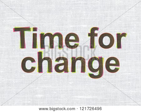 Timeline concept: Time For Change on fabric texture background