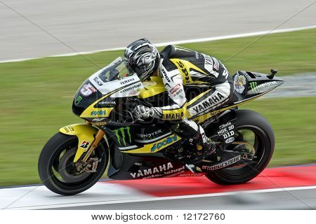 SEPANG, MALAYSIA - OCTOBER 25: Team Monster Yamaha's Colin Edwards in  the 2009 Shell Advance Malaysian Motorcycle GP. October 25, 2009 in Malaysia.
