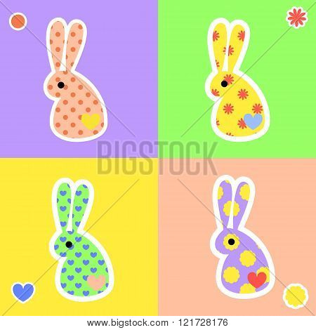 Bight rabbit shape stickers