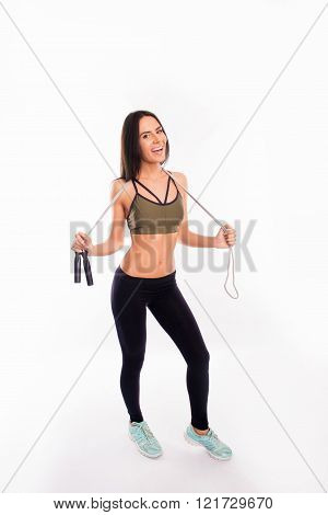 Muscular Woman With Skipping Rope Isolated On White Background