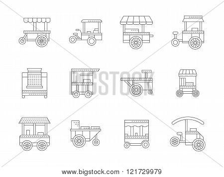 Set of linear food trolley vector icons