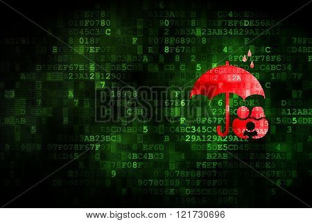 Protection concept: Family And Umbrella on digital background