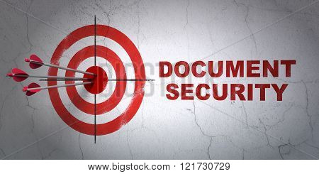Safety concept: target and Document Security on wall background