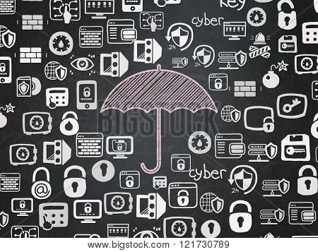 Protection concept: Umbrella on School Board background