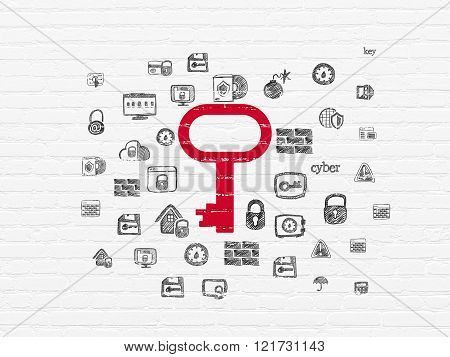 Safety concept: Key on wall background