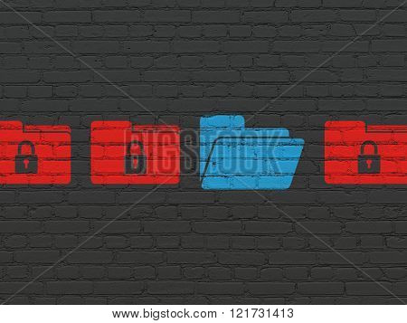 Privacy concept: folder icon on wall background