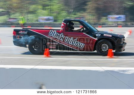 Modified pickup truck in autocross
