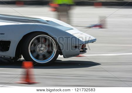Pomona, USA - March 12, 2016:  Chevrolet Corvette Stingray in autocross during 3rd Annual Street Mac