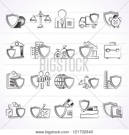 Business and industrial insurance icons